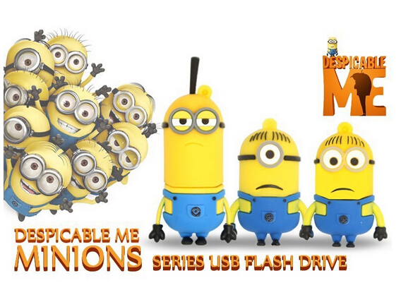 Cute Minions USB Flash Drive Yellow Man Cartoon Usb Memory Stick U Disk 4GB 8GB 16GB 32GB 64GB