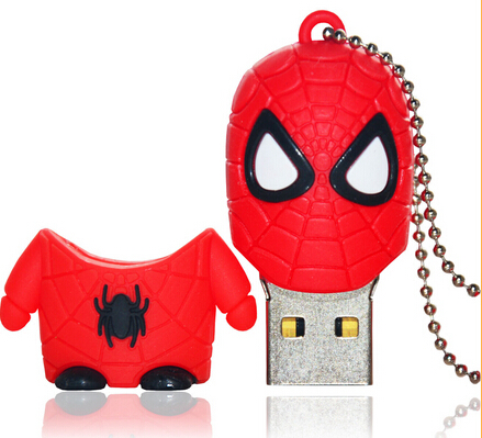 Chiristmas Gift Custom Cartoon USB 2.0 Stick Spiderman USB Flash Drive 16GB