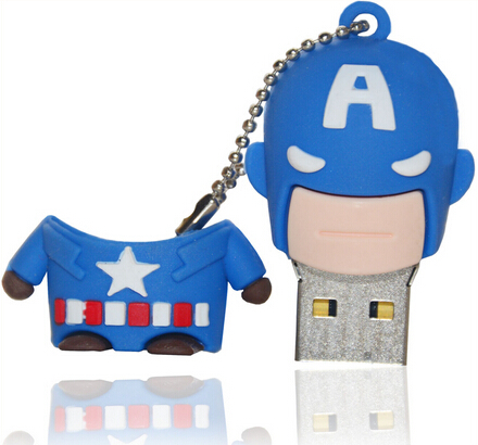 New 16GB 64GB Cartoon Animal Captain America USB Flash Drive